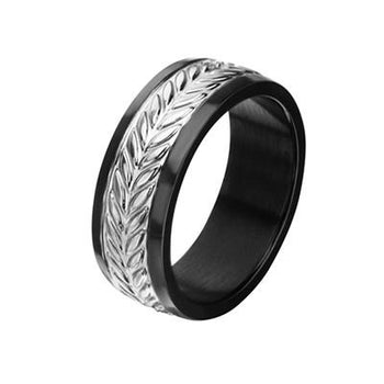Wheat Stalk Sculpted Black  IP Stainless Steel Mens Ring