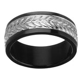 Wheat Stalk Sculpted Black  IP Stainless Steel Mens Ring Alt View