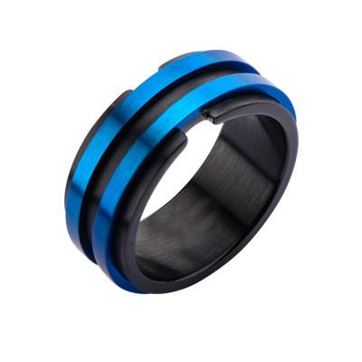 Metallic Blue and Black Steel AVALANCHE RING for Men