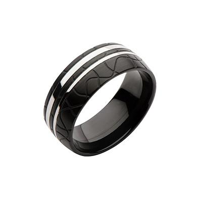 Dark Jigsaw Band Engraved Black Steel Modern Mens Ring