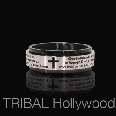 Spinner Ring LORD'S PRAYER in Stainless Steel with Black PVD | Tribal Hollywood