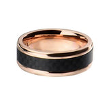 Midnight Sun Carbon Fiber Rose Gold Steel Mens Ring