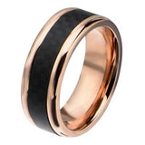 Midnight Sun Carbon Fiber Rose Gold Steel Mens Ring Alt View