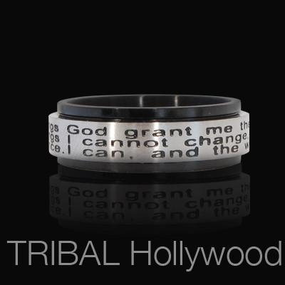 SERENITY PRAYER Mens Spinner Ring Steel with Black PVD