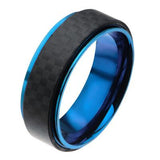 Blue Speed Carbon Fiber Blue IP Stainless Steel Mens Ring Alt View
