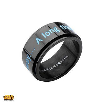 Star Wars Ring for Men GALAXY FAR FAR AWAY in Black Steel