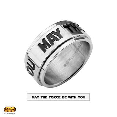 Star Wars Mens Steel Spinner Ring MAY THE FORCE BE WITH YOU