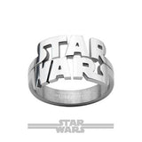 STAR WARS CUT-OUT Stainless Steel Logo Ring for Men Front View