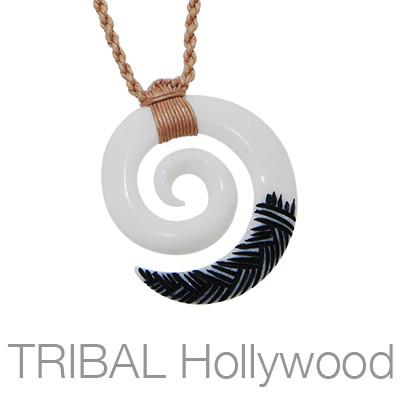 Maori Koru Painted Bone Rope Necklace