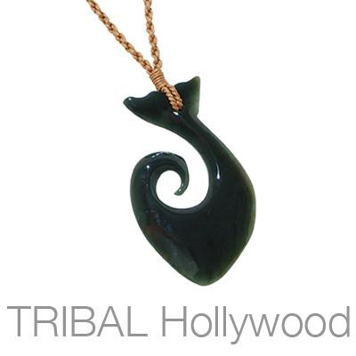 Fish hook hawaiian hook hei matau koru maori necklaces hei matau black jade whale tail fishhook rope necklace mozeypictures Image collections