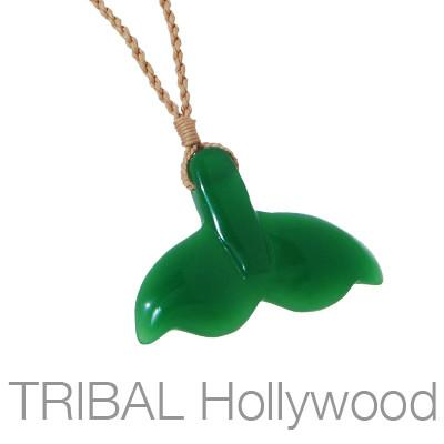Maori Whale Tail Green Jade Hand-Carved Mens Rope Necklace
