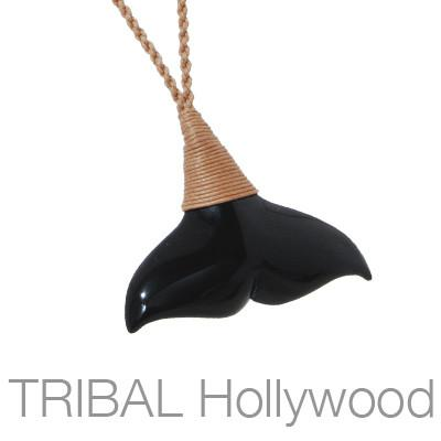 Maori Whale Tail Black Jade Hand-Carved Mens Rope Necklace