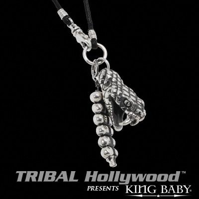 RATTLESNAKE Sterling Silver Pendant Necklace by King Baby | Tribal Hollywood