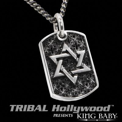 STAR OF DAVID RELIC Large King Baby Sterling Silver Dog Tag