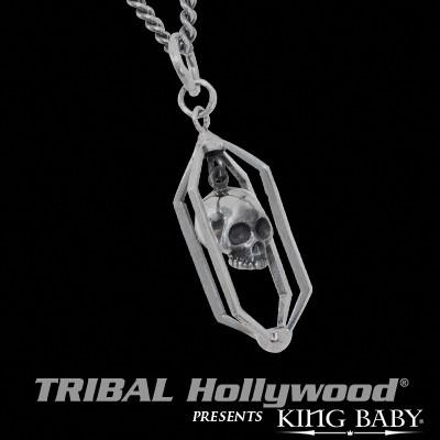 CAGED SKULL Sterling Silver Mens Pendant Necklace by King Baby | Tribal Hollywood