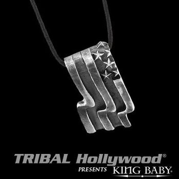 American US Flag Sterling Silver Mens Necklace by King Baby