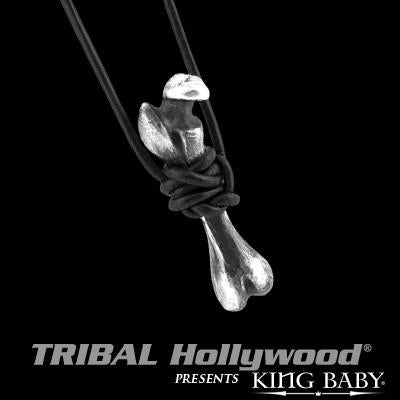 Skeleton Bone Sterling Silver Mens Necklace by King Baby