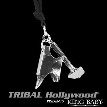 Anvil and Hammer Silver Mens Pendant Necklace by King Baby