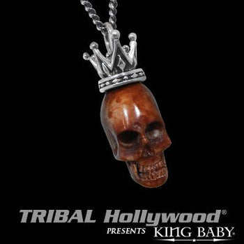 BONE SKULL Pendant Necklace for Men with Silver Crown by King Baby | Tribal Hollywood