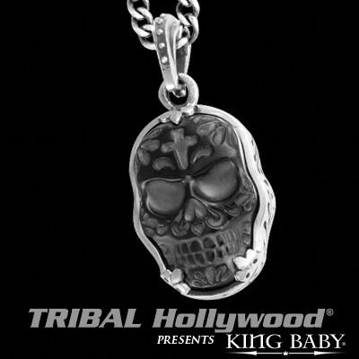 Jet Day of the Dead Skull Necklace for Men Silver Frame