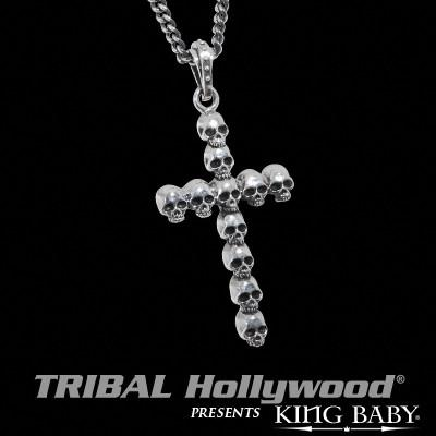 SKULLS CROSS Mens Sterling Silver Pendant Necklace by King Baby Studio | Tribal Hollywood
