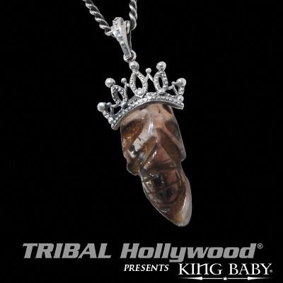 Quartz Skull King Baby Mens Necklace with Silver Crown