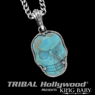 Turquoise Skull Necklace for Men in Silver