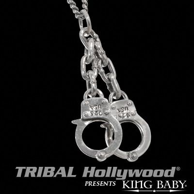 Handcuff Necklace For Men in Silver By King Baby Studio