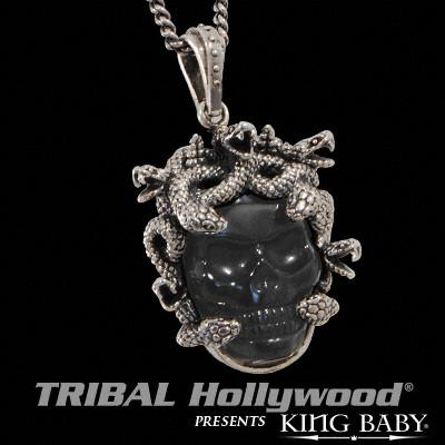 Medusa Skull Mens Necklace in Black Agate and Silver