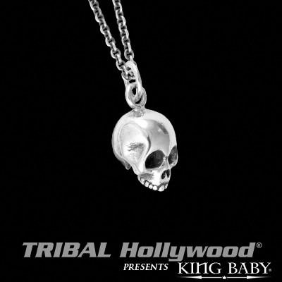 Mens Necklace Micro Skull Thin Width In Sterling Silver