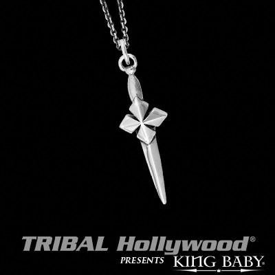 Micro Dagger Thin Width Mens Necklace in Silver