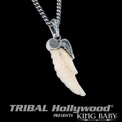 Mens Necklace White Fossil Wing In Silver By King Baby