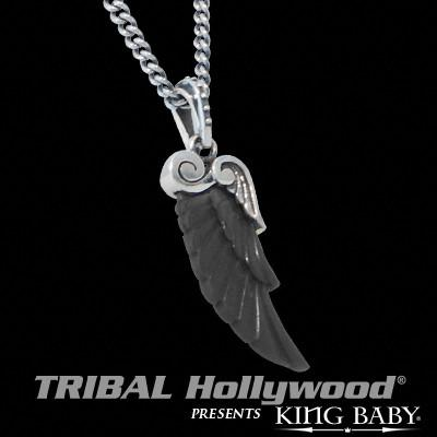 Necklace For Men Black Jet Wing In Silver By King Baby