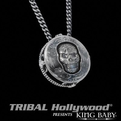 Liberty Half Dollar Skull Medallion in Sterling Silver