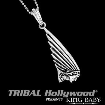 Indian Motorcycle Chief Silver Mens Necklace by King Baby