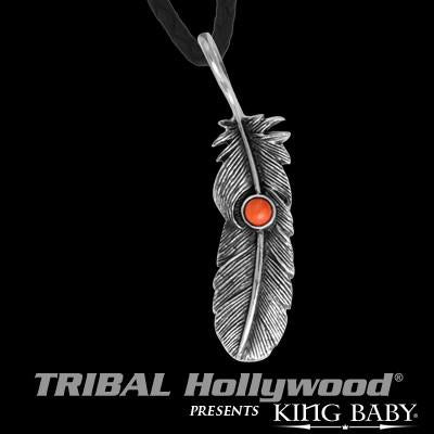 Silver Raven Feather Red Coral Mens Necklace by King Baby