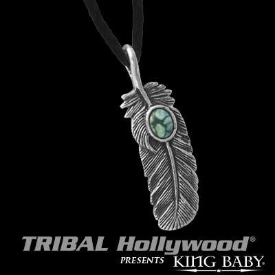 Silver Feather Turquoise Mens Necklace by King Baby