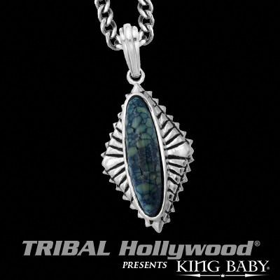 Spotted Turquoise Silver Concho Mens Necklace by King Baby