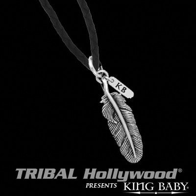 Silver Baby Feather Leather Mens Necklace by King Baby