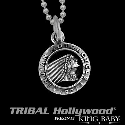 69a1f650f68f0 INDIAN MOTORCYCLE Chief Medallion Silver Mens Necklace by King Baby