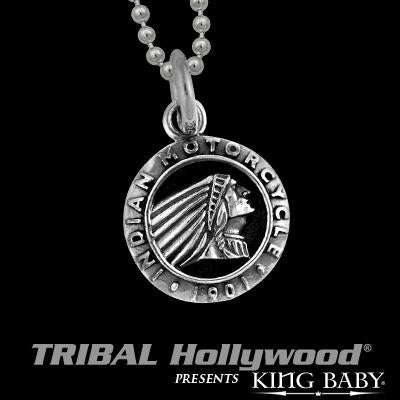 King Baby Indian Motorcycle Chief Medallion Silver Necklace