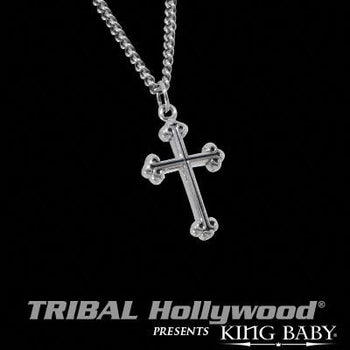 Extra Small Mens Necklace Traditional Cross in Silver