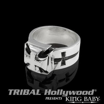 Ring For Men Slash Chopper Cross in Silver by King Baby