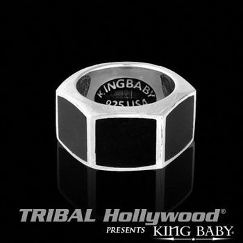Hexagon Silver Mens Ring with Jet Stone by King Baby