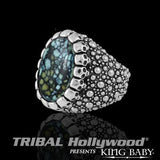 Spotted Turquoise Silver Mens Ring by King Baby 1