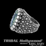 Spotted Turquoise Silver Mens Ring by King Baby Side View