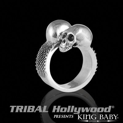 DOUBLE SKULL RING Mens Sterling Silver Riveted Band Ring by King Baby | Tribal Hollywood