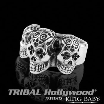 813ed2293 Mens Skull Ring TRIPLE DAY OF THE DEAD SKULL Sterling Silver by King Baby |  Tribal