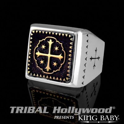 Shipwreck Cross Ring for Men Alloy Silver and Brass