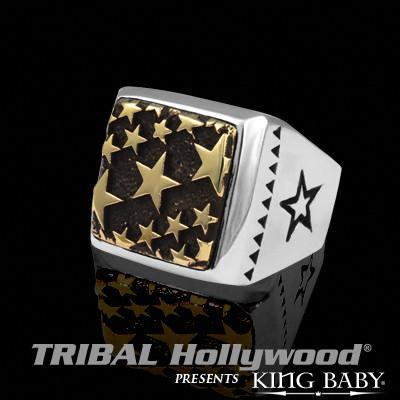 Ring for Men Alloy Stars Square in Silver and Brass